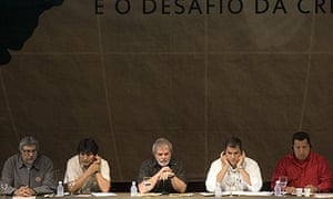Fernando Lugo, Evo Morales, Luiz Inacio Lula da Silva, Rafael Correa and Hugo Chavez