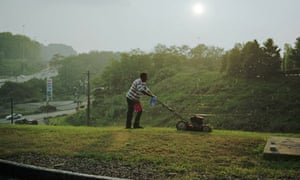 Pittsburgh Man Cutting Grass