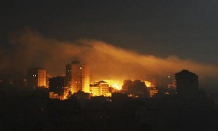 A Hamas security facility in Gaza City burns