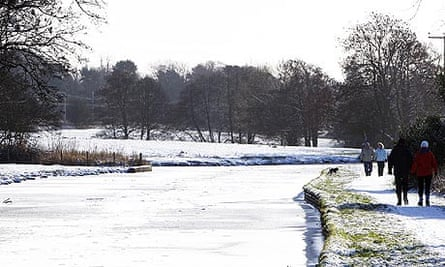 A frozen canal towpath in Staffordshire yesterday