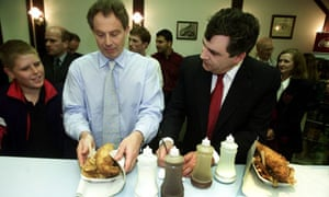 Gordon Brown eating fish and chips with Tony Blair