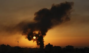 Smoke rises over Gaza city