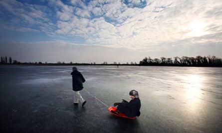 Frozen ponds in the fens near Earith, Cambridgeshire