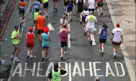 Aerial view of London marathon runners
