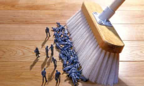 Redundancy human figures swept up