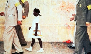 A painting by Norman Rockwell titled The Problem We All Live With. Steven Spielberg and George Lucas are combining their collections of Rockwell's work for an exhibit in Washington.  Photograph: EPA