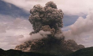 Smoke and ash billow from the Soufriere Hills volcano on Monserrat in 1997