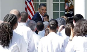 President Barack Obama talks to doctors about healthcare reform