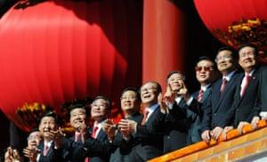 china anniversary : Chinese President Hu and other leaders applaud at china anniversary