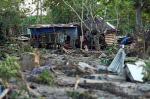 Samoa: A house remains standing following the earthquake in Lalomanu