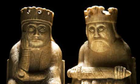A queen and a king form part of the medieval Lewis chess sets