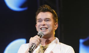 Stephen Gately of Boyzone performs at Wembley Arena.