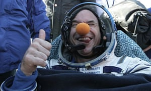 Canadian billionaire space tourist Guy Laliberte after landing with The Soyuz spacecraft crew.