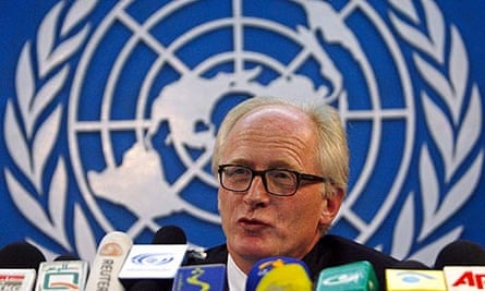 United Nations special envoy to Afghanistan Eide speaks during a news conference in Kabul