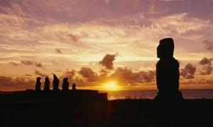Moai statues at dusk, Tahai Archaeological Site, Rano Raraku, Easter Island, Chile