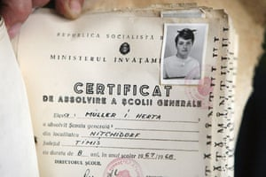 Herta Müller: The school diploma of Romanian-born writer Herta Müller