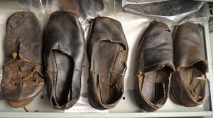 mary rose : A row of leather shoes found on Mary Rose