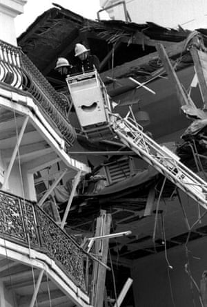 Brighton bombing 1984: Firemen inspect the wreckage at the Grand Hotel