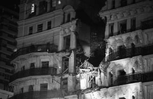 Brighton bombing 1984: The exterior of the Grand Hotel, Brighton, after a bomb explosion
