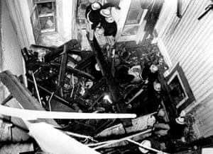 Brighton bombing 1984: Firemen working in the wreckage where victims of the IRA bomb were found