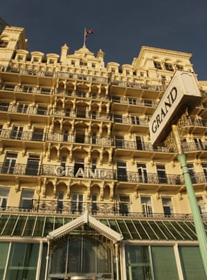 Brighton bombing 1984: The Union Jack flag flies at half mast over The Grand Hotel