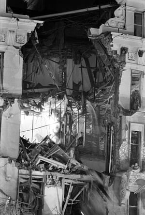 Brighton bombing 1984: A fireman inside the Grand Hotel in Brighton after a bomb attack by the IRA