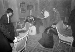Brighton bombing 1984: Guests at the Grand Hotel in Brighton, after a bomb attack by the IRA