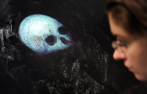 Damien Hirst No Love Lost: A member of gallery staff looks at Damien Hirst's  Floating Skull, 2006