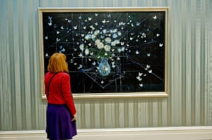 Damien Hirst No Love Lost: White Roses and Butterflies, 2008, on display
