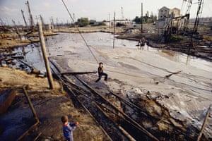 Earth Alert: Leaking oil pumps, Balaxani, Baku, Azerbaijan