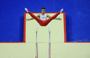 World Gymnastics : Roman Gisi on the parrallel bars during in the qualifying competition