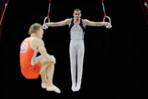 World Gymnastics : Alexander Rodriguez on the rings in the qualifying competition
