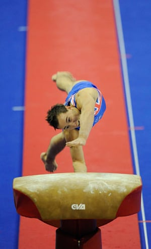 World Gymnastics : Daniel Keatings of Great Britain competing on the vault