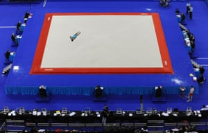 World Gymnastics : The judges eyes are on Devesh Kumar of India as he competes on the floor
