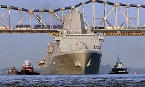 The USS New York cruises on the Mississippi river near Avondale, Louisiana.