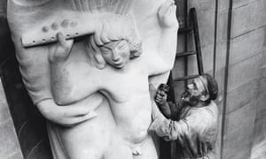 Eric Gill working on Prospero and Ariel