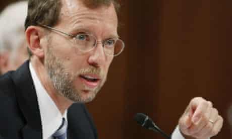 Douglas Elmendorf, the congressional budget office director, testifies during a Senate finance committee hearing in Washington.