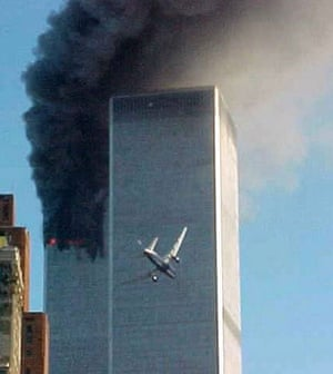 10 years: A jet airliner near the south tower of the World Trade Center
