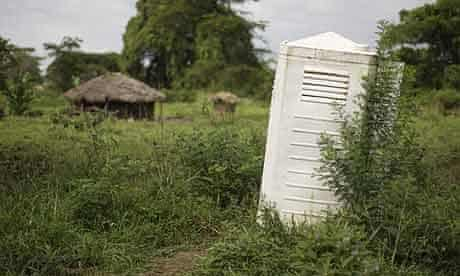 A latrine originally from an IDP camp has been relocated as a family toilet in Katine