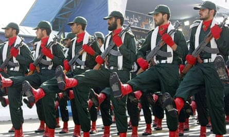 Iran's elite Revolutionary Guard march at a military parade in 2008