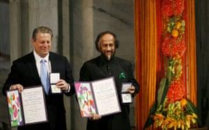 Environment decade: 2007 Nobel Peace Prize Al Gore and Rajendra Pachauri , Norway - 10 Dec 2007