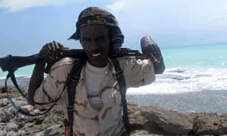 Somali pirate on the coast of Hobyo, Somalia