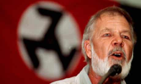 Eugene Terre'Blanche speaks at an Afrikaner Resistance Movement (AWB) gathering in Pretoria in 1999