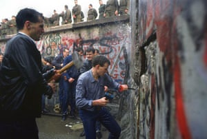 Berlin Wall: 1989: West Berliners try to break through the wall