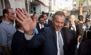 British prime minister Tony Blair tours the West Bank city of Hebron