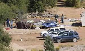 Investigators examine the sweat lodge at Ray's retreat.