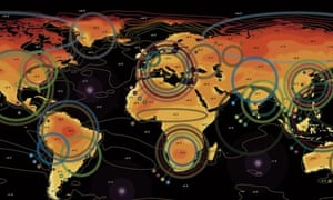 A map showing the impact of a global temperature rise of 4C.
