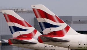 Recession 2009: Two British Airways aircraft on the stands at London's Heathrow Airport