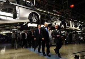 Recession 2009: Prime Minister Gordon Brown visits the Nissan plant in Sunderland