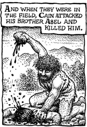 R Crumb's Genesis: Illustration of Cain attacking Abel The Book Of Genesis by R Crumb